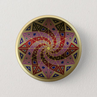 Badge Rond 5 Cm Bouton de mandala d'équilibre d'or de remous de