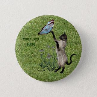 Badge Rond 5 Cm Bouton de papillon de chat siamois