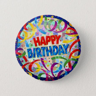 Badge Rond 5 Cm Bouton de partie de joyeux anniversaire