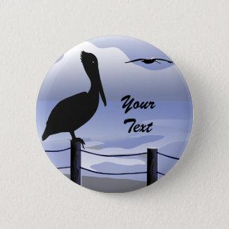 Badge Rond 5 Cm Bouton de Shoreline d'océan de pélican