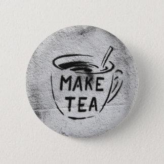 """Badge Rond 5 Cm bouton de slogan """"faites thé"""" d'art de pochoir de"""