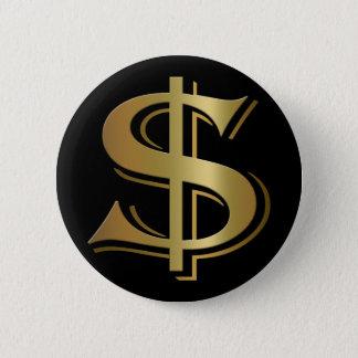 Badge Rond 5 Cm Bouton de symbole dollar