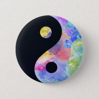 Badge Rond 5 Cm Bouton de Yin Yang de couleur d'eau