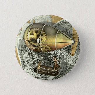 Badge Rond 5 Cm Bouton dirigeable de visite d'air de Steampunk
