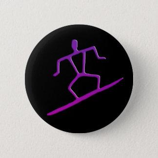 Badge Rond 5 Cm Bouton hawaïen de pétroglyphe de surfer