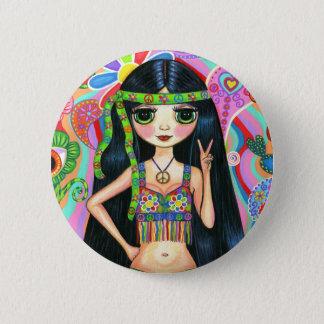 Badge Rond 5 Cm Bouton hippie de fille de signe de paix
