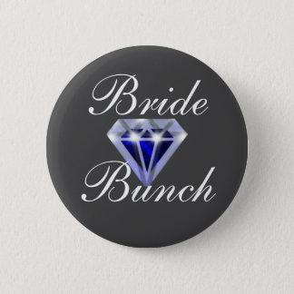 Badge Rond 5 Cm Bouton nuptiale de douche de diamant bleu