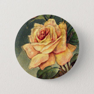 Badge Rond 5 Cm Bouton vintage de roses jaunes