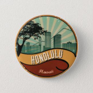 Badge Rond 5 Cm Bouton vintage d'horizon de ville de Honolulu
