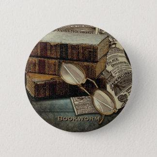Badge Rond 5 Cm Boutons vintages de rat de bibliothèque de lecture