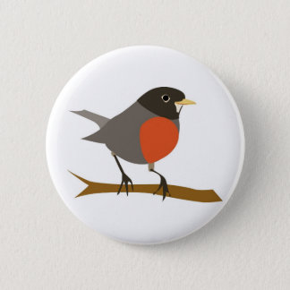 Badge Rond 5 Cm Breasted rouge Robin sur la branche