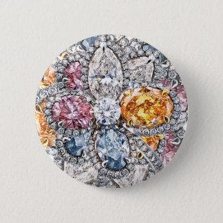 Badge Rond 5 Cm Broche de Puakenikeni de diamant