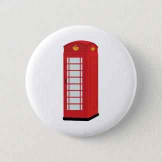 Badge Rond 5 Cm Cabine téléphonique rouge