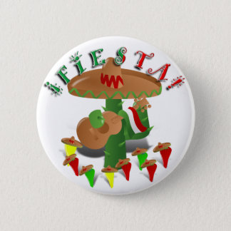 Badge Rond 5 Cm Cactus w/Sombrero de fiesta et guitare