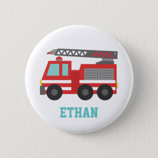 Badge Rond 5 Cm Camion de pompiers rouge mignon pour de petits