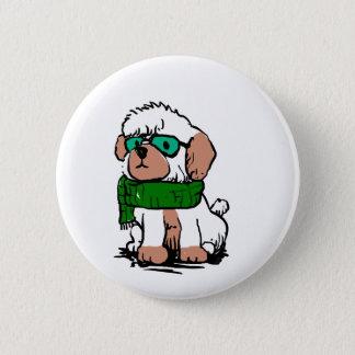 Badge Rond 5 Cm Caniche de bande dessinée avec des lunettes de
