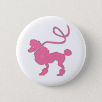 Badge Rond 5 Cm Caniche rose