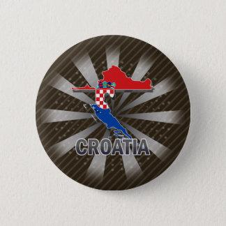 Badge Rond 5 Cm Carte 2,0 de drapeau de la Croatie