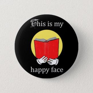Badge Rond 5 Cm C'est mon visage heureux - Emoji lisant un livre