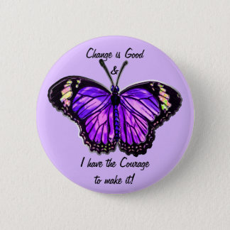 Badge Rond 5 Cm Changez est bon (le bouton pourpre de papillon)