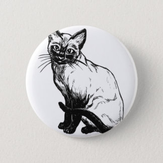Badge Rond 5 Cm Chat siamois