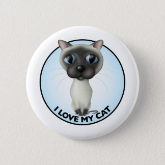 Badge Rond 5 Cm Chat siamois - amour d'I mon chat