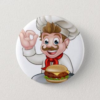 Badge Rond 5 Cm Chef tenant l'hamburger