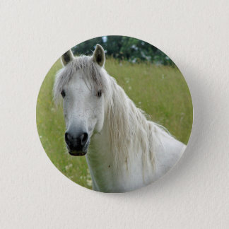Badge Rond 5 Cm Cheval blanc