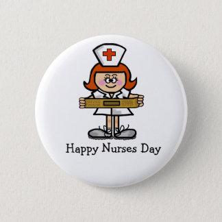 Badge Rond 5 Cm Cheveux femelles de rouge d'infirmière