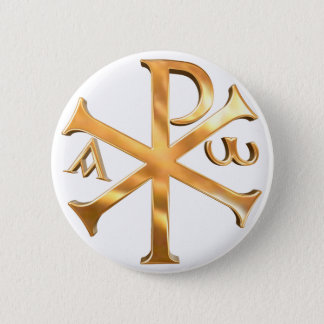 Badge Rond 5 Cm Chi-Rho d'or