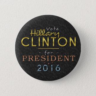 Badge Rond 5 Cm Chic noir de président 2016 or de Hillary Clinton