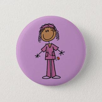 Badge Rond 5 Cm Chiffre infirmière de bâton d'Afro-américain