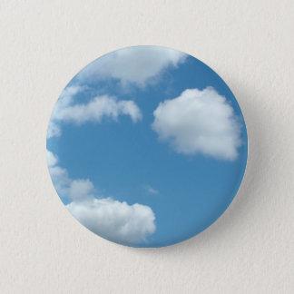 Badge Rond 5 Cm ciel bleu et nuages blancs