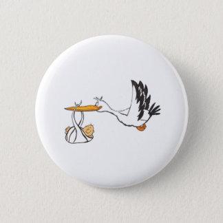 Badge Rond 5 Cm Cigogne avec le bébé - cadeau pour que les parents
