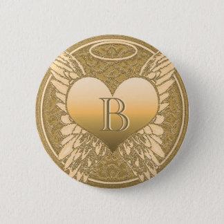 Badge Rond 5 Cm Coeur d'ange du mémorial | de la lettre B |