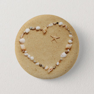 Badge Rond 5 Cm Coeur de coquillage avec des étoiles de mer