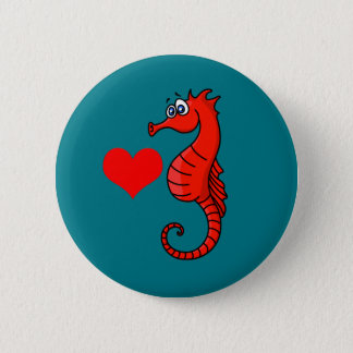 Badge Rond 5 Cm Coeur et hippocampe de vecteur