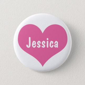 Badge Rond 5 Cm Coeur rose - bouton nommé Girly personnalisé