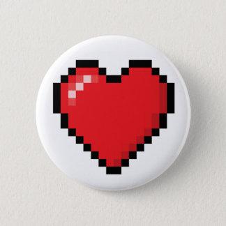 Badge Rond 5 Cm Coeur rouge de jeu vidéo de Pixelated