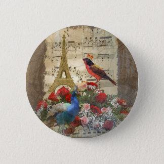 Badge Rond 5 Cm Collage vintage de feuille de musique de Paris et
