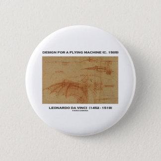 Badge Rond 5 Cm Conception de da Vinci pour une machine de vol