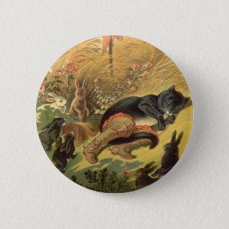 Badge Rond 5 Cm Conte de fées victorien vintage, chat dans les