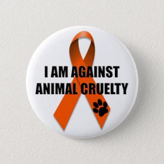 Badge Rond 5 Cm Contre le ruban orange de conscience de cruauté