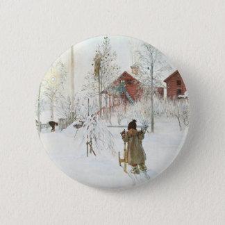 Badge Rond 5 Cm Cour de Carl Larsson et la Chambre de lavage