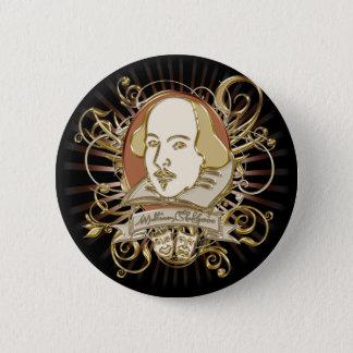 Badge Rond 5 Cm Crête de William Shakespeare (or)