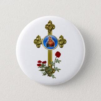 Badge Rond 5 Cm Croix de Mary de mère