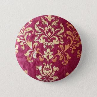 Badge Rond 5 Cm damassé victorienne florale grunge de Bourgogne