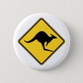 Badge Rond 5 Cm danger d'avertissement de kangourou dans le jour