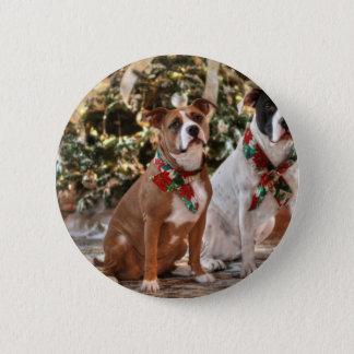 Badge Rond 5 Cm Délivrance mignonne Pitbull de Noël et chien de