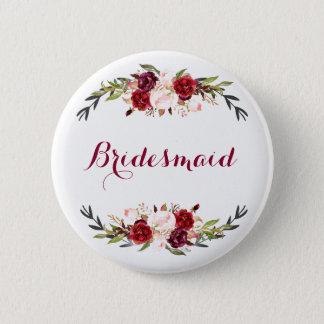 Badge Rond 5 Cm demoiselle d'honneur florale rose rouge de
